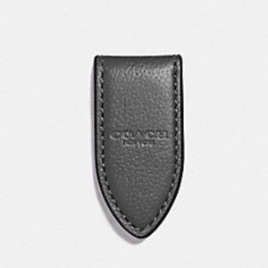 🆕 Coach Leather Money Clip Gray